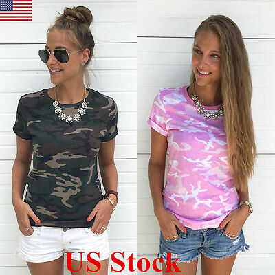 US Fashion Women Casual Camouflage Sleeve Tops Shirt Ladies Loose T-shirt Blouse