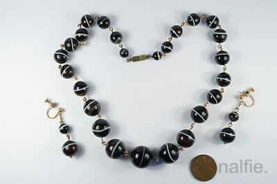 Beautiful Antique Late Victorian Banded Agate Orb Necklace & Earrings Set