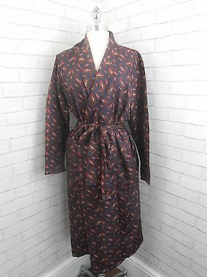 Vintage Men's Dark Blue Red Green Silky Paisley Retro Dressing Gown House Coat L