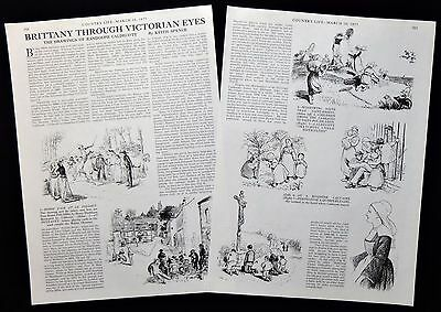 RANDOLPH CALDECOTT ARTIST BRITTANY DRAWINGS FRANCE 2pp ILLUSTRATED ARTICLE 1977
