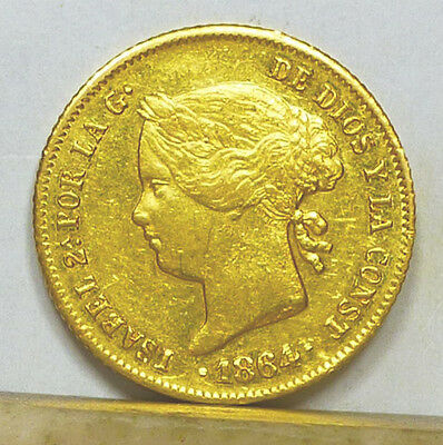 Philippines Gold 4 Pesos 1864 Choice Almost Uncirculated