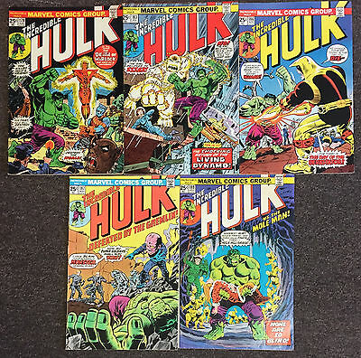 5 The Incredible Hulk 1st Series lot 178,183,186,187,189 Fine/Fine+ Marvel