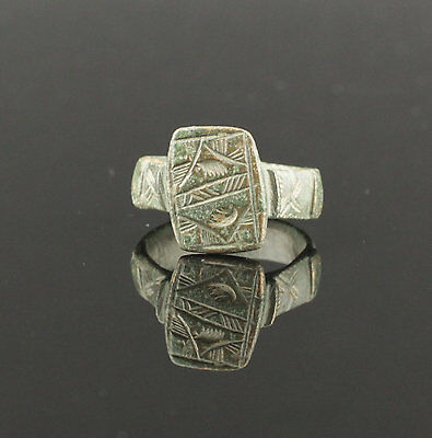 Ancient Medieval Bronze Ring - Circa 13Th Century Ad  02