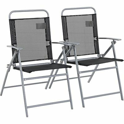 HOME Steel Folding Chairs - Set of 2 - Free 90 Day Guarantee