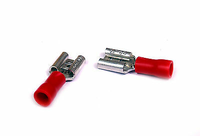6.5mm Red Female Crimp Spade Connectors Push on to be used with 1.5mm Wire