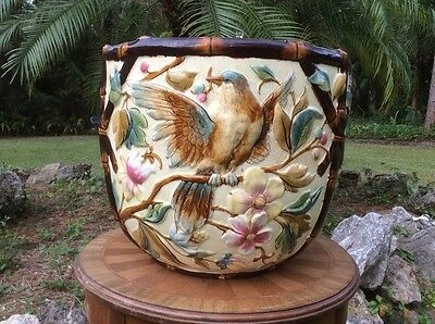 Monumental Antique Sarreguemines Majolica Jardiniere Planter, fm987