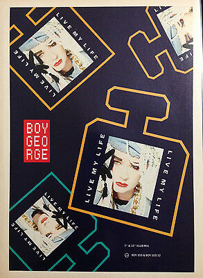 BOY GEORGE. LIVE MY LIFE - ORIGINAL 1 PAGE ADVERT FROM 1980s No1 MAGAZINE