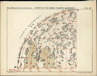 Chart Moon surface craters First Quadrant 1902 detailed color Celestial print