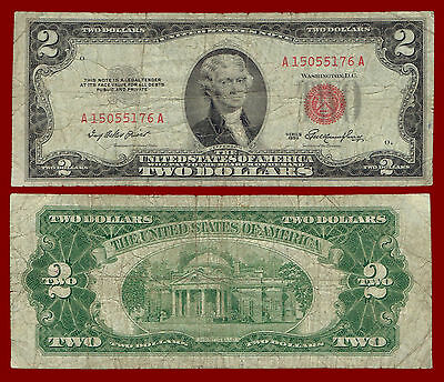 """1953 Two Dollars """"united States Note"""" $2 (Red Seal Note) 5176"""