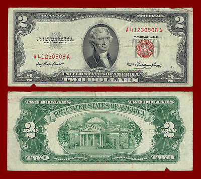 """1953 Two Dollar (United States Note) $2 """"red Seal"""" Note 0508"""