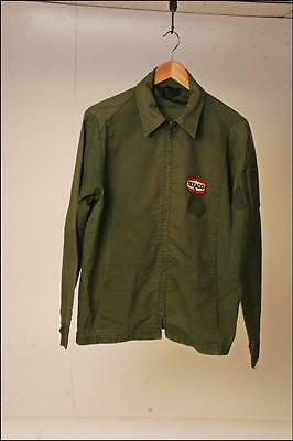 Vintage TEXACO Service Station Jacket M employee advertising gas oil Green patch