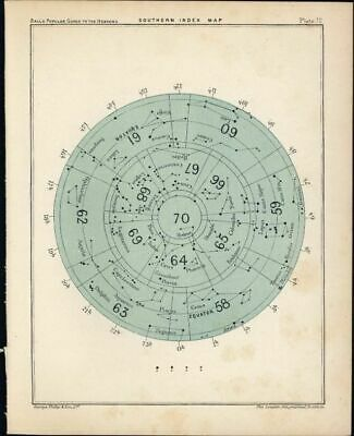 Southern Hemisphere Index Map Constellation 1902 lovely color Celestial print