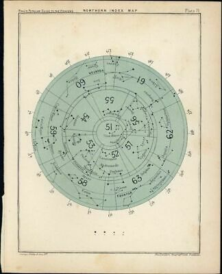 Northern Hemisphere Index Constellations 1902 lovely color Celestial print