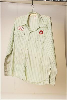 Vintage TEXACO Service Station Shirt Mens M/L employee advertising Green 16 1/2