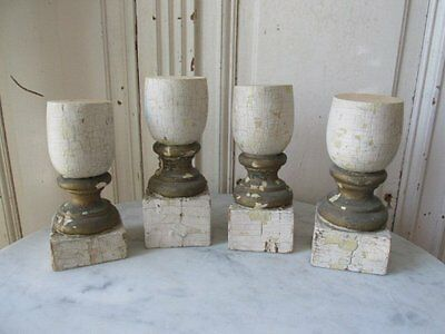 4 FABULOUS OLD ARCHITECTURAL Repurposed CHURCH POSTS CANDLE HOLDERS Chippy PAINT