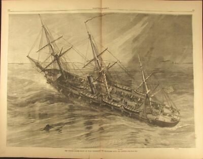 US Navy Ship Richmond VA Blockade Duty Mobile 1864 old Harpers Civil War print