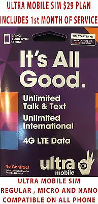 1ST MONTH FREE PRELOADED ULTRA MOBILE SIM CARD $29 5GB Unlimited Data 60 Country
