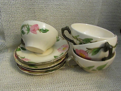 "Franciscan Desert Rose.. (4)..coffee Cups And.. (4) - 5.75"" Saucers"