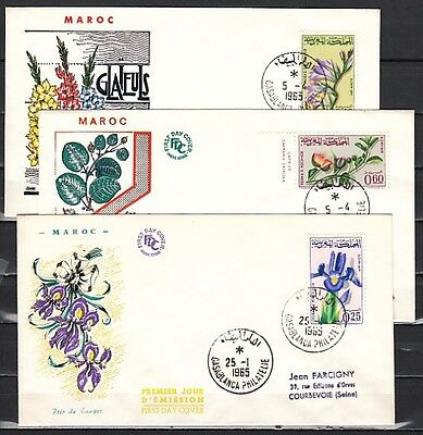 // Morocco, Scott cat. 115-117. Garden Flowers issue. 3 First day covers.