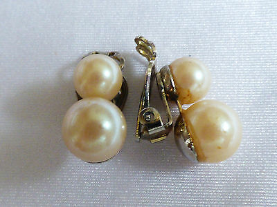 Vintage signed Japan Cream color pearl faux beads silver tone clip earrings