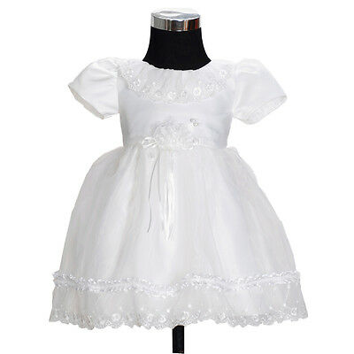 New Girls Ivory Christening Gown Party Flower Girl Dress 6-9 Months
