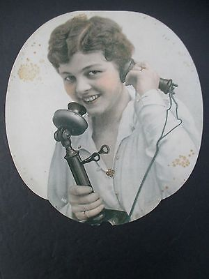 Vintage Salesman's Sample Advertising Fan with Woman on Vintage Telephone