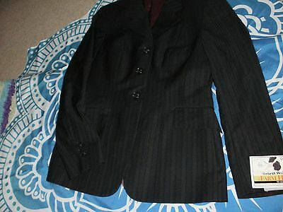 Grand Prix  Hunt Coat 12R Black Toned Stripe Burgundy Lined New! Free Shipping!