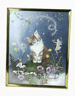 Vintage Jean Henry Foil Picture Cat Kitten with Fairy & Snail Hologram Print