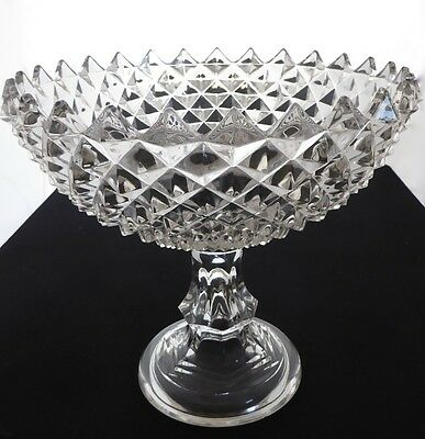 CRYSTAL PEDESTALED COMPOTE. Diamond Pattern. Triangular Edges Encircle Rim.