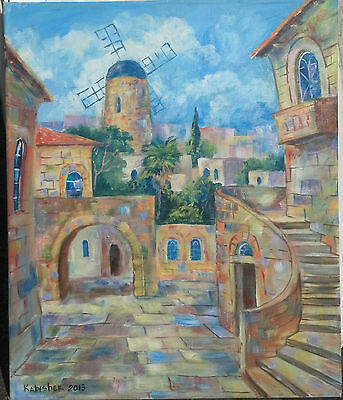 "Jerusalem Houses Old City &Montefiore Windmill 19"" OIL PAINTING Israel Holy Land"
