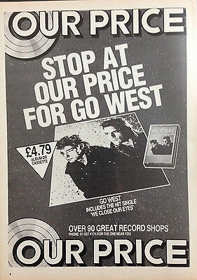 GO WEST - ORIGINAL 1 PAGE ADVERT FROM 1980s No1 MAGAZINE. PETER COX