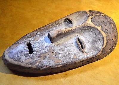 Antique African Lega Tribal Bwami Carved Wood Face Mask Collected Congo, Africa