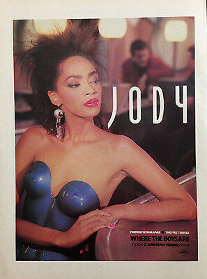 JODY (SHALAMAR) WHERE THE BOYS ARE. ORIGINAL 1 PAGE ADVERT FROM 80s No1 MAGAZINE