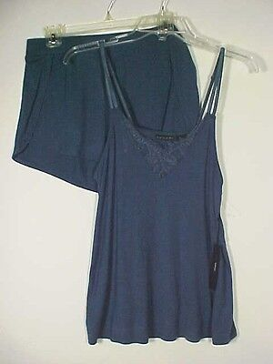 Tahari Navy Blue w/ Lace 2 pc Lingerie Cami & Shorts Sleepwear Set NWT Sz L