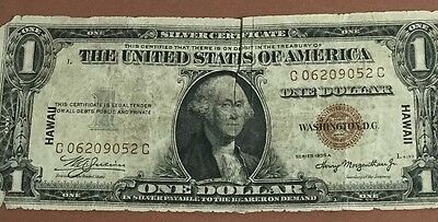 "1935A $1 Brown Seal ""HAWAII"" Emergency WWII SILVER Certificate! X052 Old MOney"