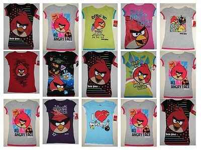 NWT 15 Girl Angry Bird Short Sleeve Black Blue Lime T-Shirt Youth Resale Lot NEW
