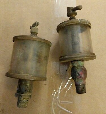 2 Brass oilers michigan lubricators Detroit vintage farm hit miss motor engine