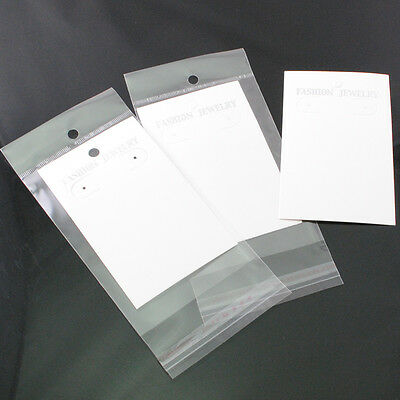30sets White Earring Jewelry Display Hanging Cards W/Self Adhesive Bags