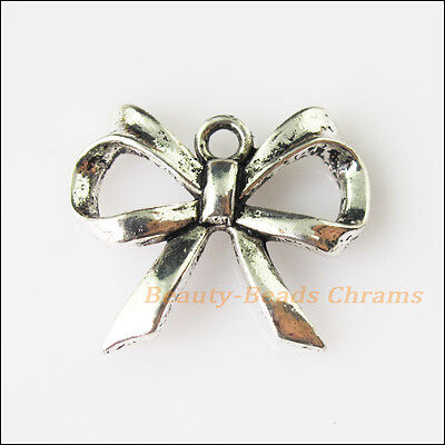 8 New Butterfly Bow Tibetan Silver Tone Charms Pendants 19x22.5mm