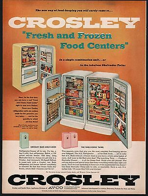 1956 CROSLEY Shelvador Twins Refrigerator and Freezer AD Vintage Kitchen Decor