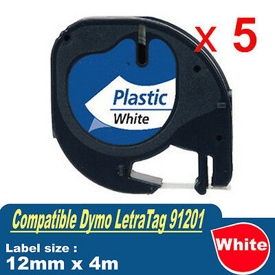 5x Generic LetraTag Plastic Tape for Dymo 91201 Black on White 12mm x 4m SD91201