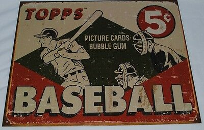 Vintage Replica Tin Metal Sign Topps picture cards box gum 55 baseball ball 1643