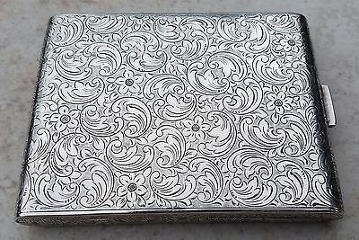 Estate FS Sterling Silver Cigarette Case-Card Holder-Floral Chasing Free US Ship
