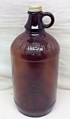 *NICE* Antique Clorox Cleaner 64oz Amber Brown EMBOSSED Glass Jug Bottle Vintage