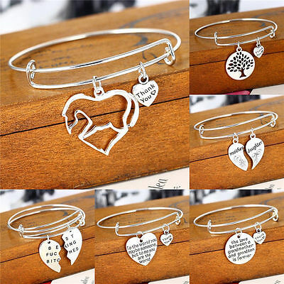 Silver Plated Pendant Heart Charm Bracelet Women Men Bangle Jewelry Family Love