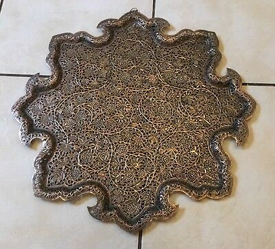 Antique Islamic Kashmiri Kashmir Mughal Persian Pierced Copper Tray Salver