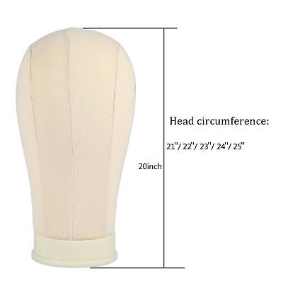 "20~25"" Millinery/Hat Cork Canvas Block Display Mold Mannequin Head + Mount Hole"