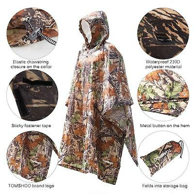 Military Waterproof Hooded Poncho Long Raincoat Camo Hunting Camping Jacket M4M9