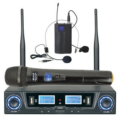Uhf Microphone Dual Channel Mic + Headset Usb Rechargeable Tc-Hl303U