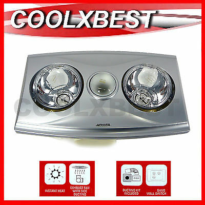 Heller 3 In 1 High Air Flow Bathroom Heater Heat Lamp Fan Light Ducted Silver
